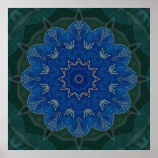 Poster azul divino de la mandala de la flor