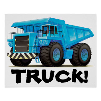 Poster azul enorme del camión volquete