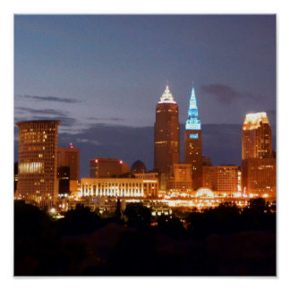 Poster azul fresco de Cleveland (12X12)