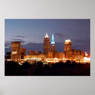Poster azul fresco de Cleveland Ohio (ningún texto