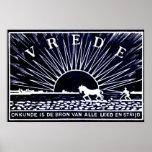 Poster azul marino 1910 de la paz