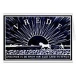 Poster azul marino 1910 de la paz tarjetas