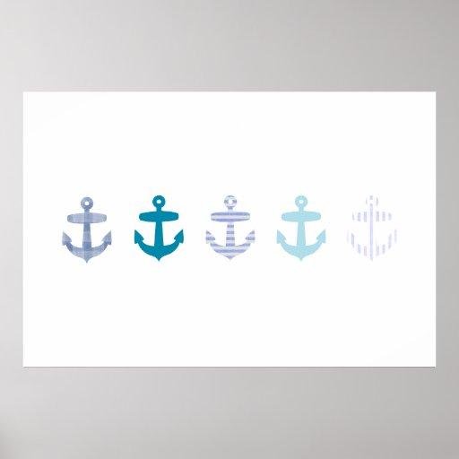 Poster azul náutico del ancla - blanco