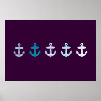 Poster azul náutico del ancla - púrpura oscura
