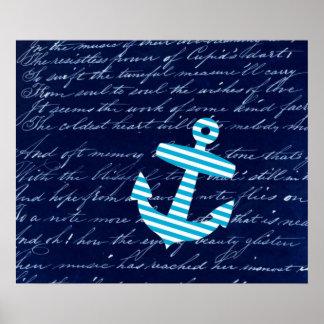 Poster azul rayado náutico del arte del ancla