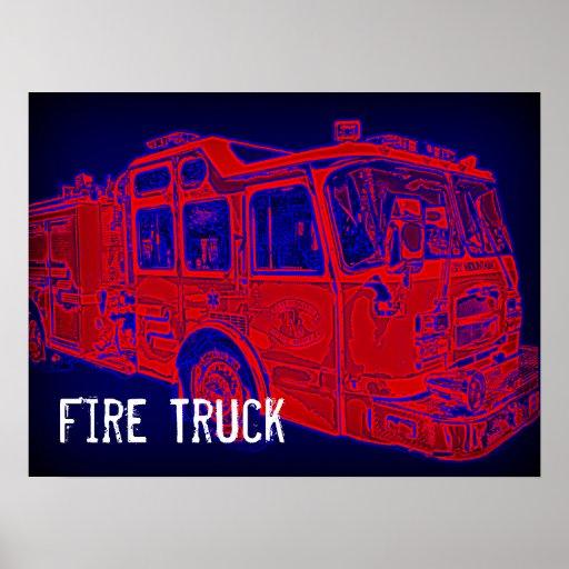 Poster azul rojo del arte pop del coche de bombero