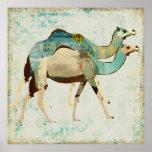 Poster azul soñador del arte de los camellos