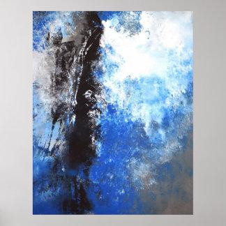 Poster azul y gris del arte abstracto