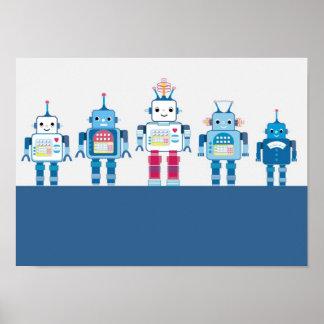 Poster azul y rojo fresco de los robots