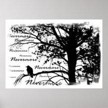 Poster - B&W Nevermore Raven Silhouette