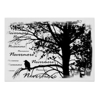 Poster - B&W Nevermore Raven Silhouette