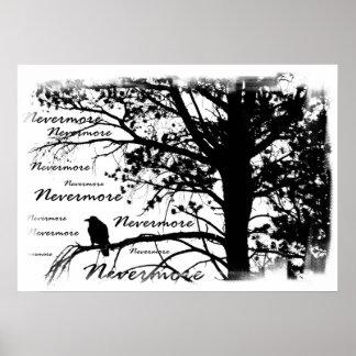 Poster - B&W Raven nunca más la silueta