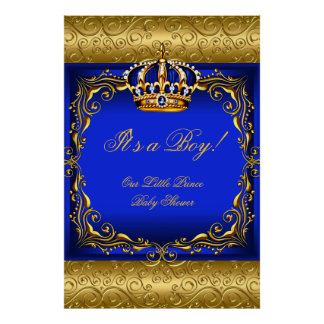 Poster Baby Shower Boy Blue Little Prince Crown