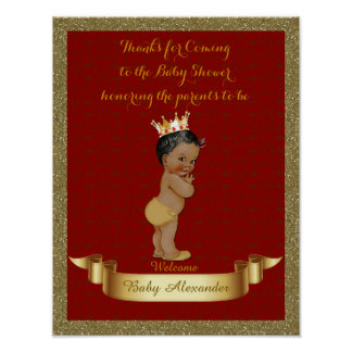Poster Baby Shower BOY, red, frame glitter, gold.