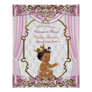 Poster Baby Shower Girl,  Princess, pink, 16x20