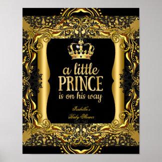 Poster Baby Shower Little Prince Gold Black