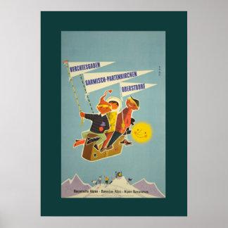 Poster bávaro del viaje de las montañas del vintag