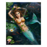 Poster-Beautiful mermaid in lake with lilies