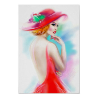 Poster beautiful woman in red hat and a dress