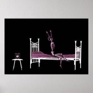 Poster - Bedtime X-Ray Skeleton Black Pink