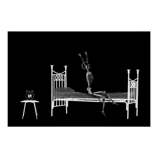 Poster - Bedtime X-Ray Skeleton Black White