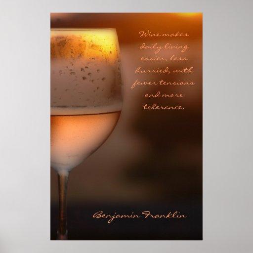 Poster: Benjamin Franklin Wine Quote