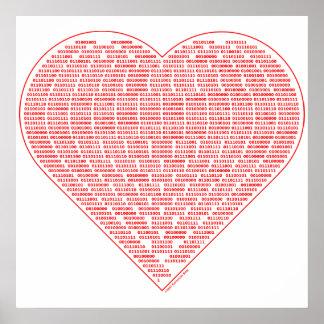 Poster binario de la tarjeta del día de San Valent