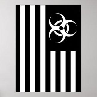Poster biológico de la bandera negra del brote del