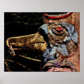 Poster-Bird Totem Pole