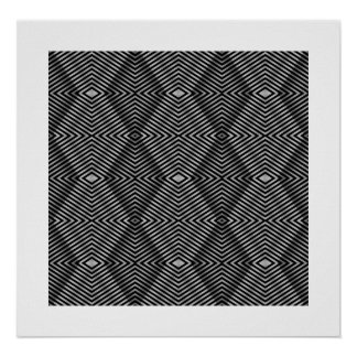 Poster Black & White Style Diamond Stripe Poster