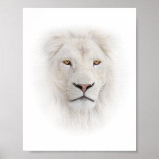Poster blanco de la cabeza del león