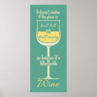 Poster blanco de la copa de vino