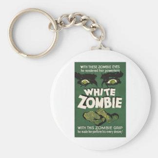 Poster blanco de la película del vintage del zombi llavero redondo tipo pin