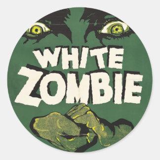 Poster blanco de la película del vintage del zombi pegatina redonda