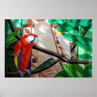 Poster blanco de la selva del Amazonas del loro de