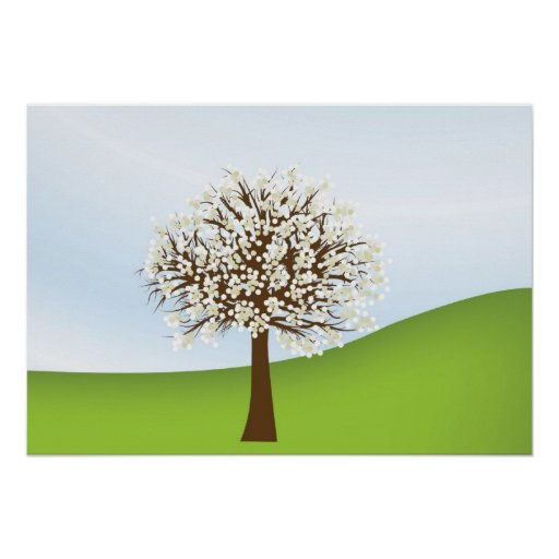 Poster blanco del árbol floreciente