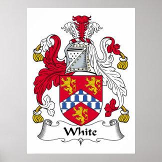 Poster blanco del escudo de la familia póster