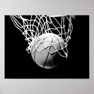 Poster blanco negro de la impresión del baloncesto