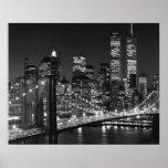 Poster blanco negro de la noche de Nueva York del