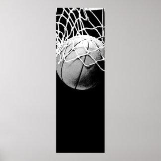 Poster blanco negro de la puerta del baloncesto