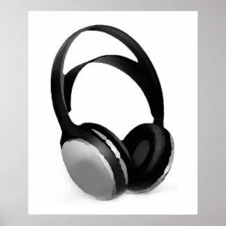 Poster blanco negro del auricular del arte pop