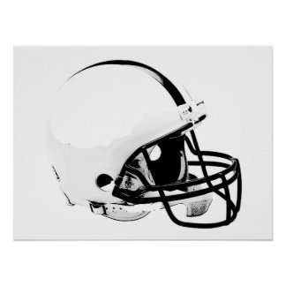 Poster blanco negro del casco de fútbol americano póster