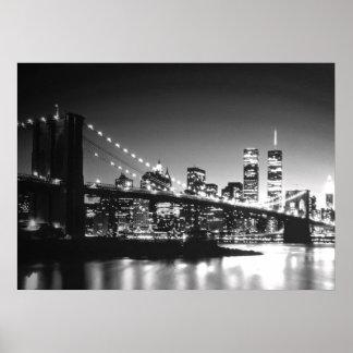 Poster blanco negro del puente de New York City