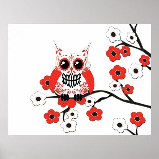 Poster blanco rojo del búho de la flor de cerezo