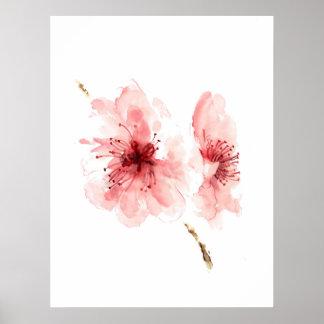 Poster blanco Sakura de la flor de cerezo rosada Póster