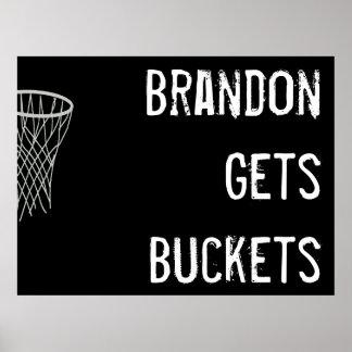 Poster blanco y negro de encargo del baloncesto