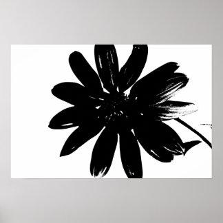Poster blanco y negro de la flor