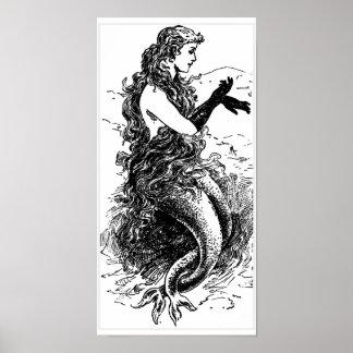 Poster blanco y negro de la sirena del vintage