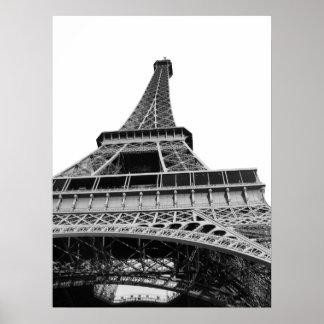 Poster blanco y negro de la torre Eiffel