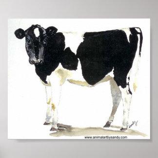 poster blanco y negro de la vaca